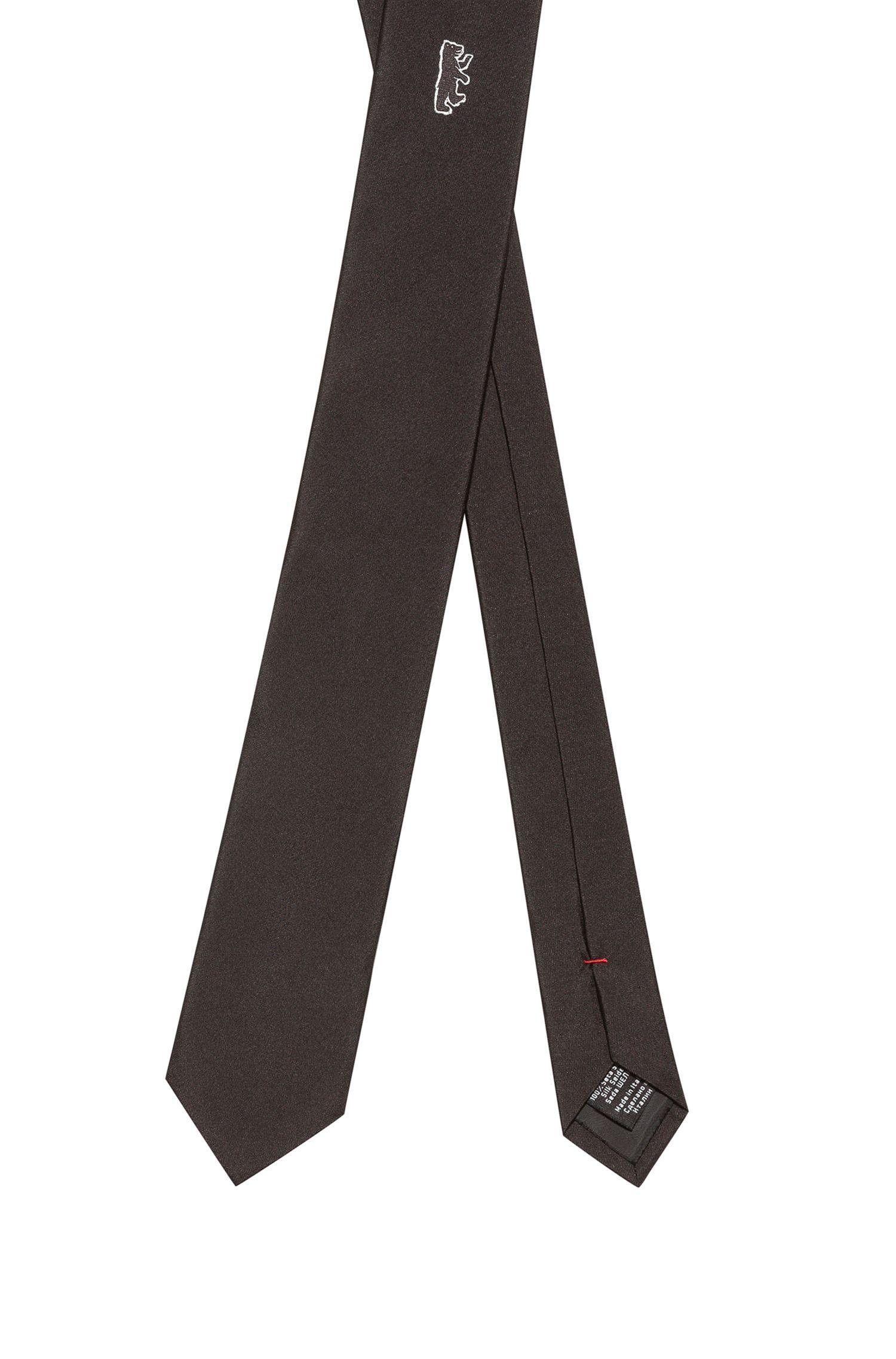 Krawatte aus Seide mit Bärenmotiv, Schwarz