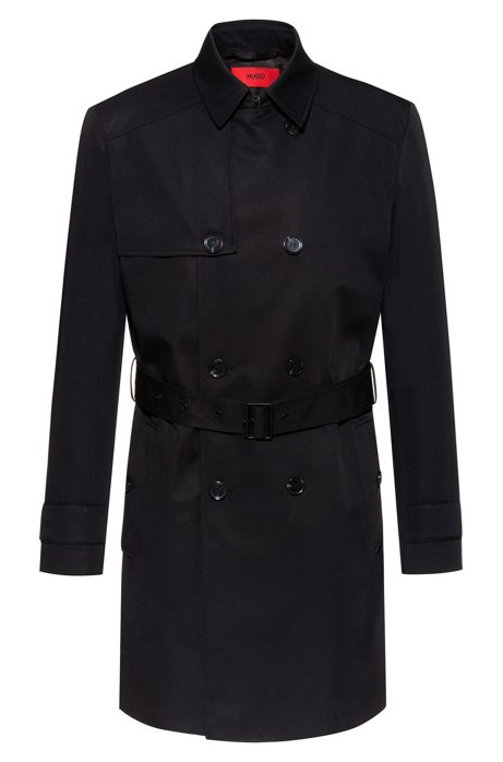 Slim-fit trench coat in water-repellent fabric, Black