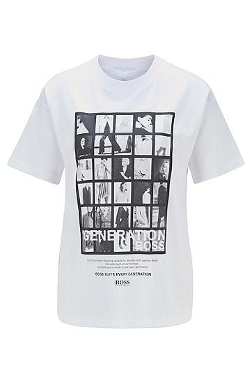 3D 印花宽松版丝光棉 T 恤,  101_天然色