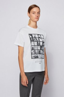 Relaxed-fit T-shirt in mercerised cotton with 3D print, White