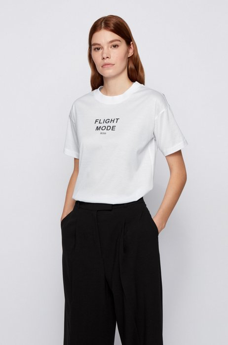 T-shirt relaxed fit in cotone mercerizzato con stampa 3D, Bianco