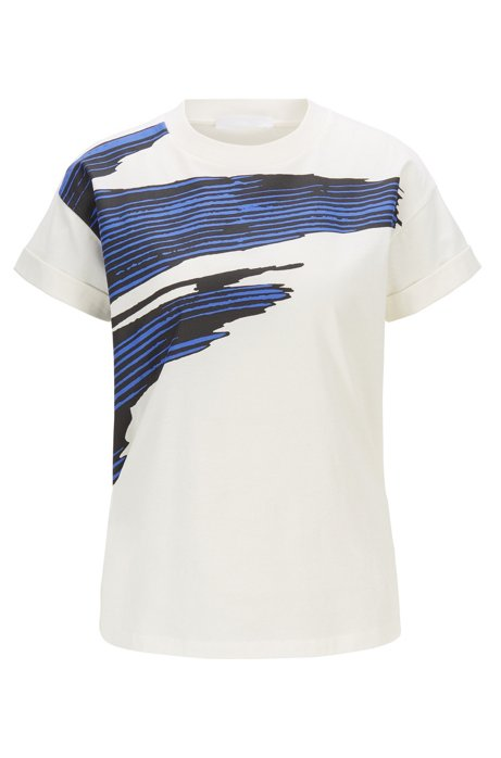 Relaxed-fit T-shirt in mercerised cotton with 3D print, Patterned
