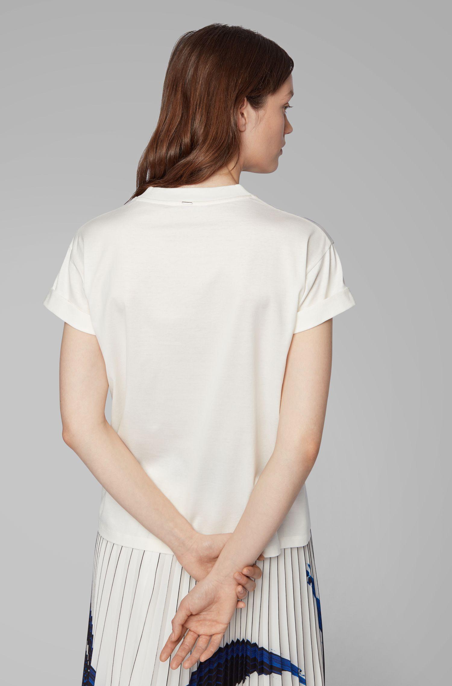 T-Shirt aus merzerisierter Baumwolle mit 3D-Print, Gemustert