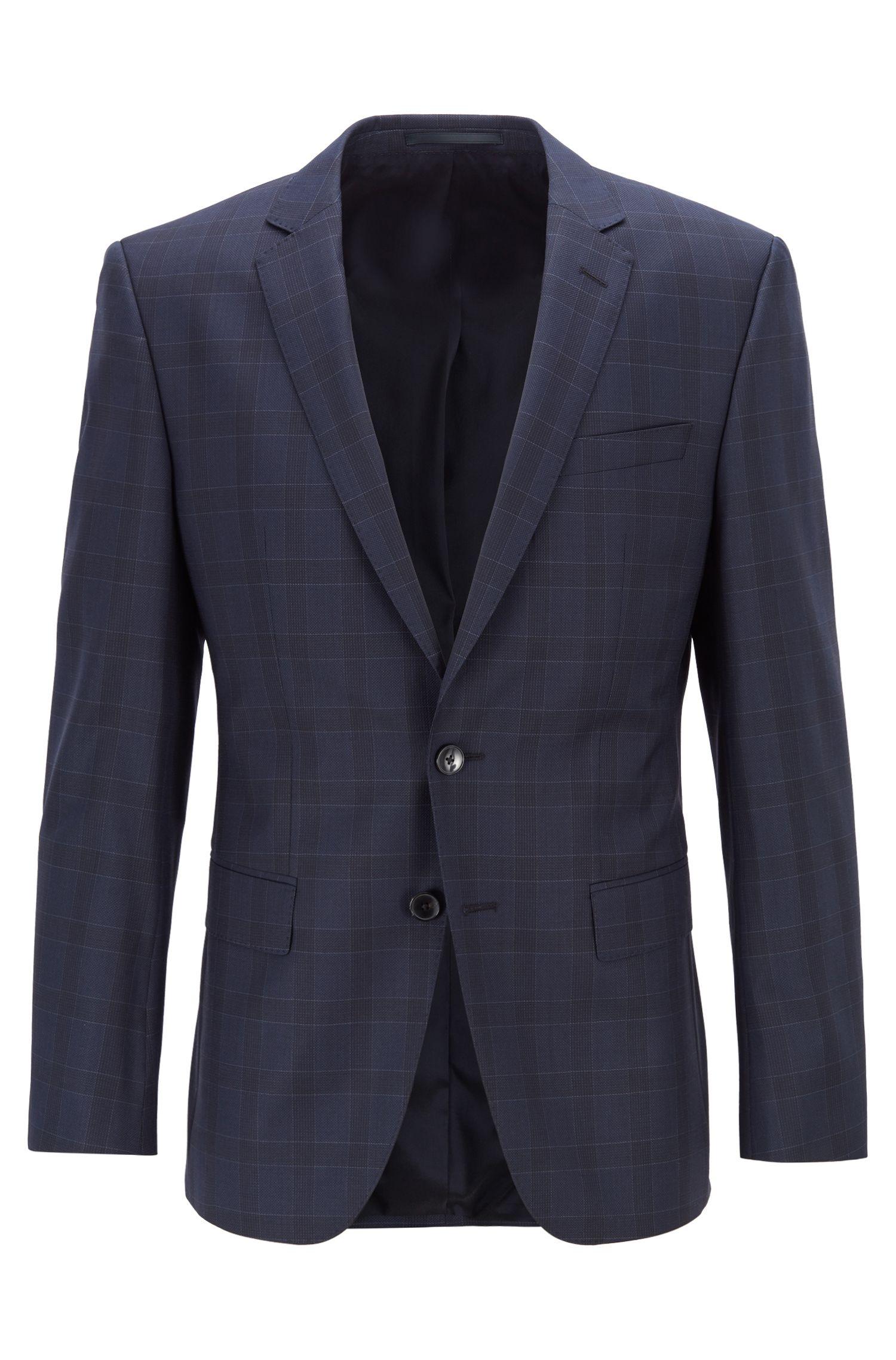 Veste Slim Fit en sergé de laine vierge à carreaux, Bleu foncé