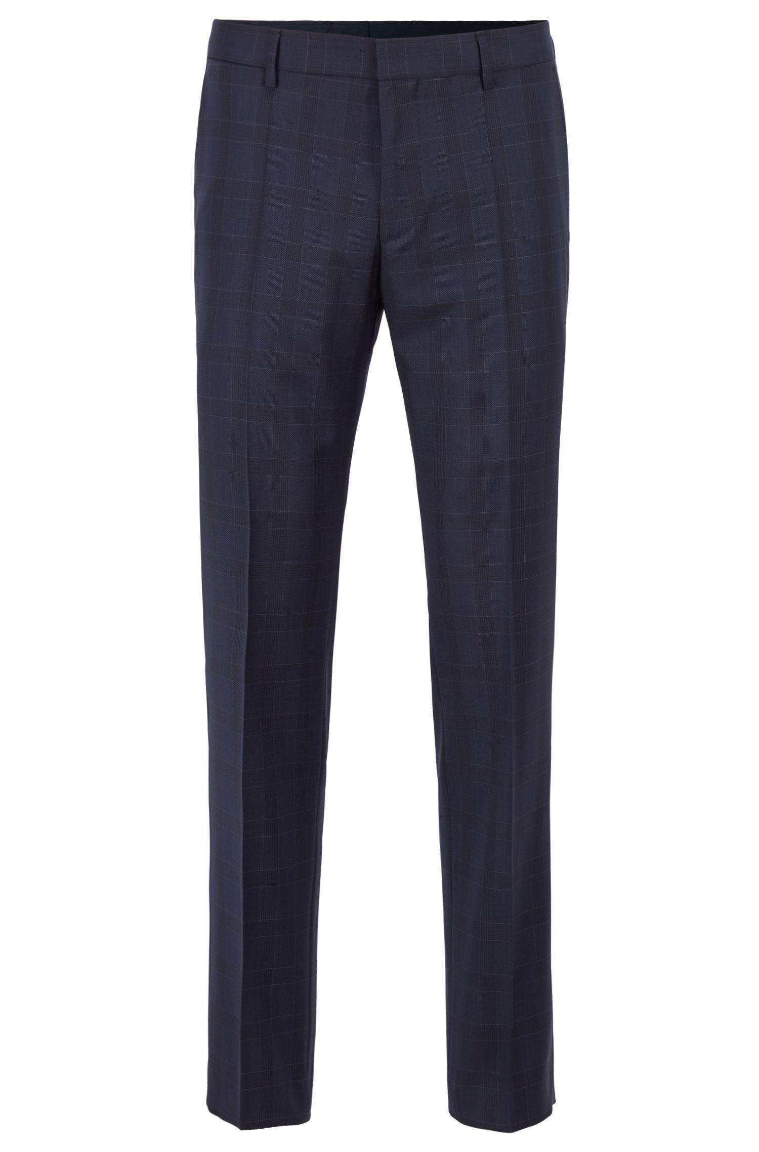 Pantaloni slim fit in serge di lana vergine a quadri, Blu scuro