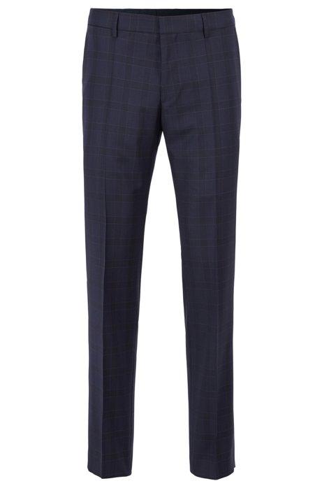 Slim-fit broek in een serge van geruite scheerwol, Donkerblauw