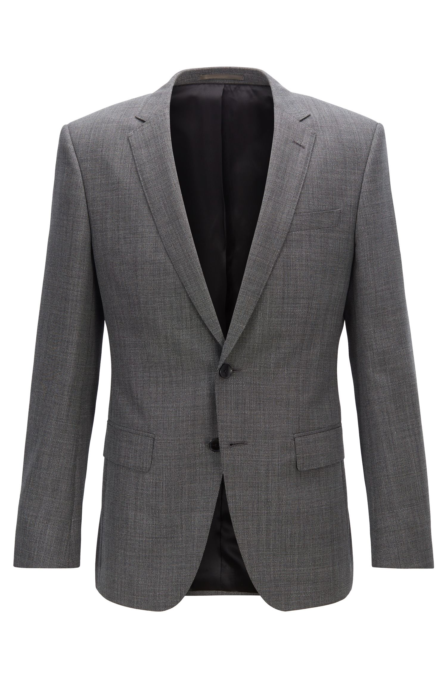 Veste Slim Fit en sergé de laine vierge à micromotif, Noir