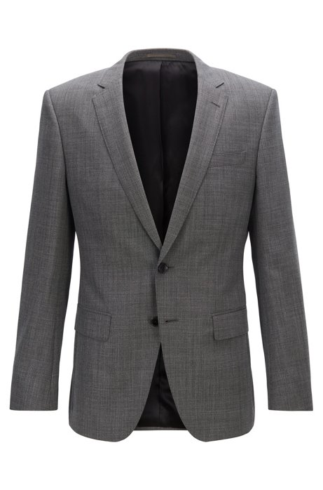 Slim-fit jacket in micro-patterned virgin wool serge, Black