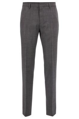 Slim-fit broek in een serge van scheerwol met microdessin, Zwart