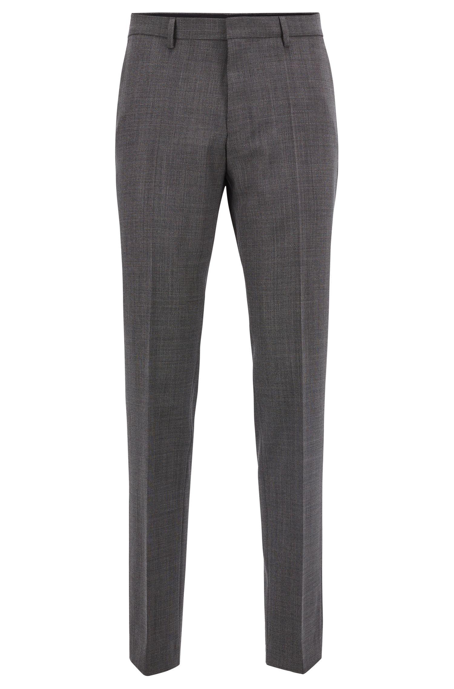 Pantalon Slim Fit en sergé de laine vierge à micro motif, Noir