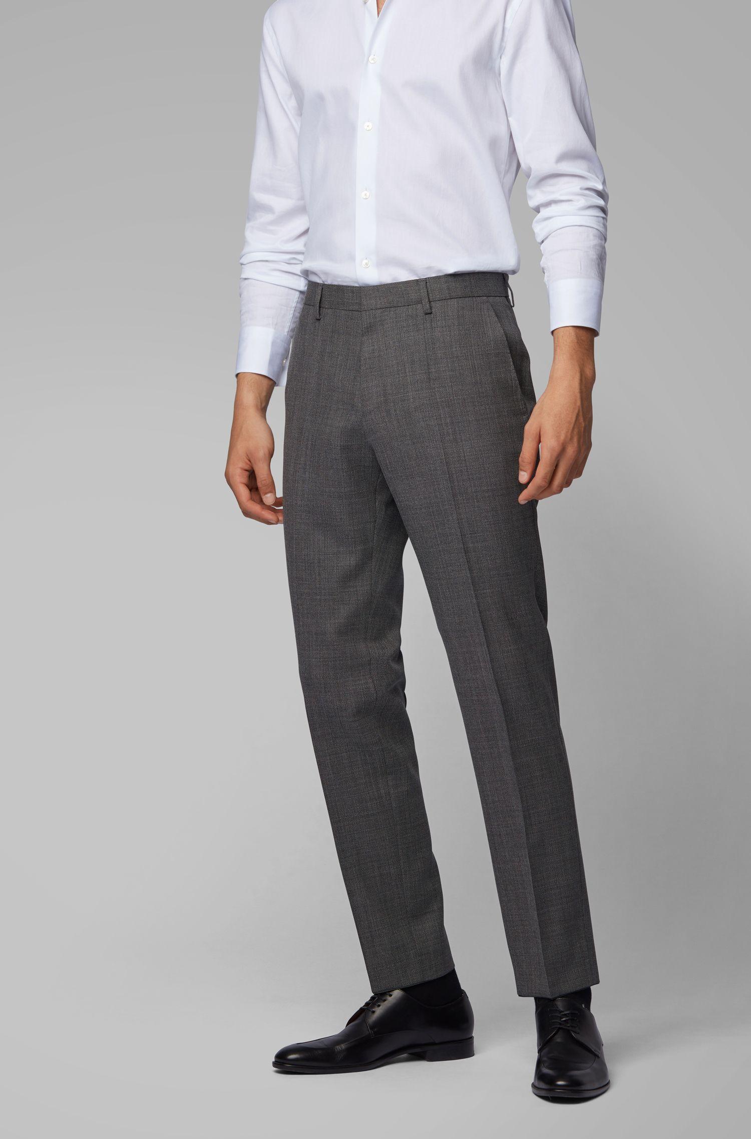 Slim-fit trousers in micro-patterned virgin-wool serge, Black