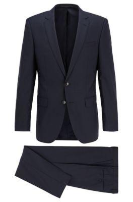 Slim-fit suit in micro-patterned virgin wool serge, Dark Blue