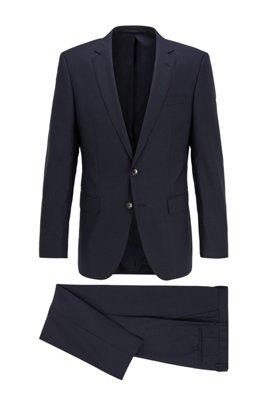 Slim-fit kostuum in een serge van scheerwol met microdessin, Donkerblauw