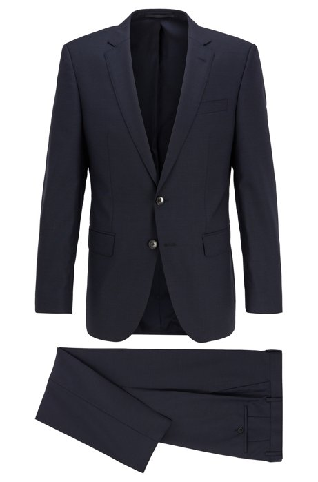 Slim-fit suit in micro-patterned virgin wool serge, Dark Blue