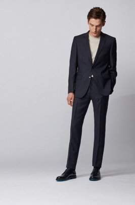 Finely patterned slim-fit suit made of virgin wool serge, dark blue
