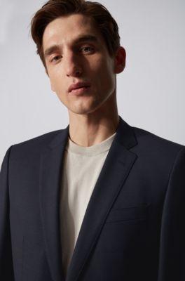 100% authentifiziert schön billig große Auswahl Fein gemusterter Slim-Fit Anzug aus Schurwoll-Serge