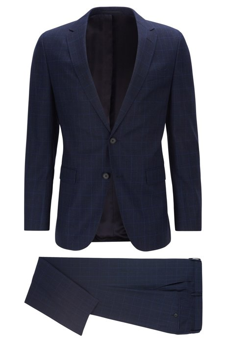 Slim-fit suit in checked virgin wool, Dark Blue