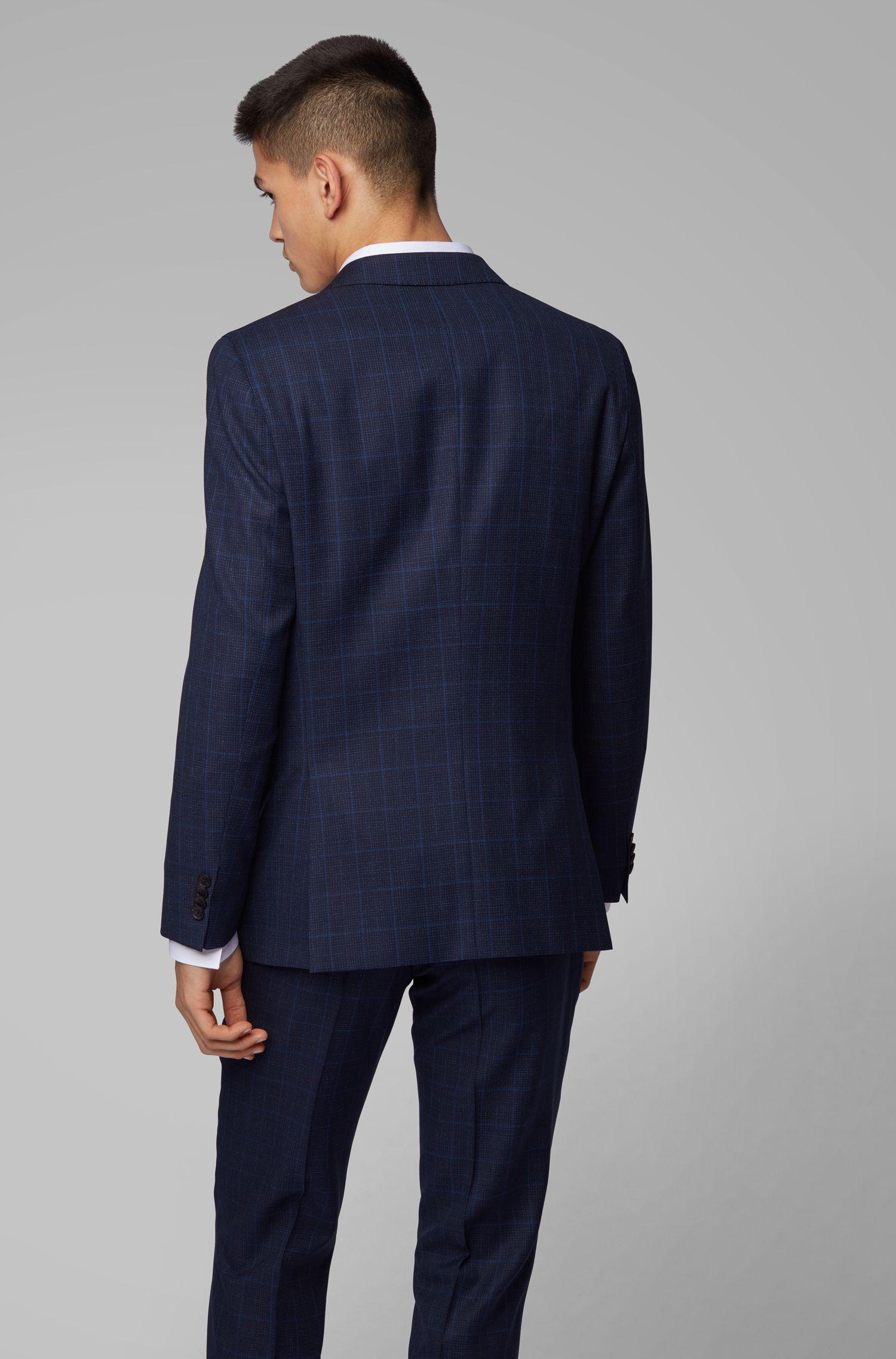 Abito slim fit in lana vergine a quadri, Blu scuro