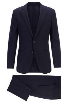 Slim-fit suit in micro-patterned virgin wool, Dark Blue