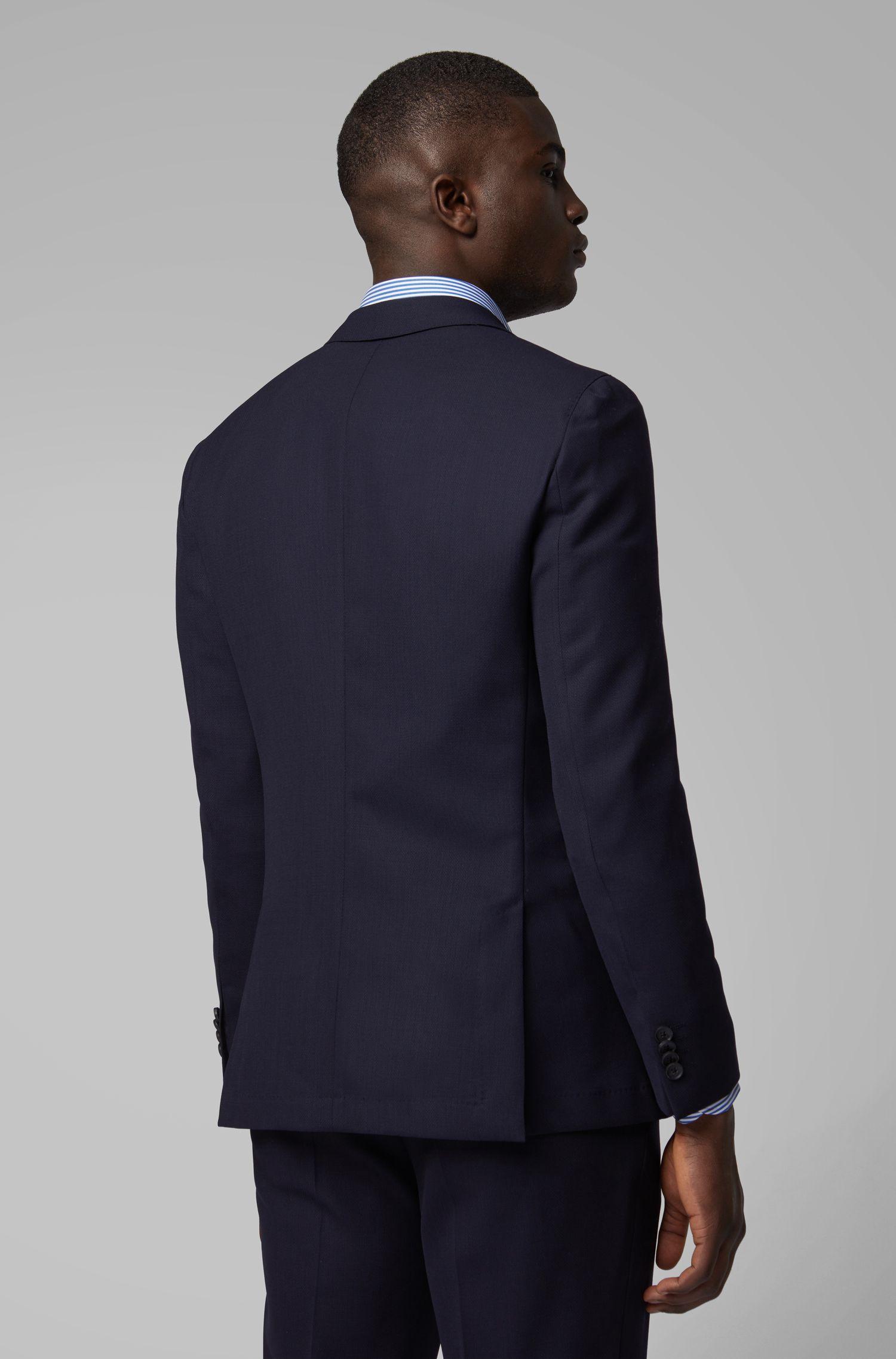 Abito slim fit in lana vergine con micro-motivo, Blu scuro