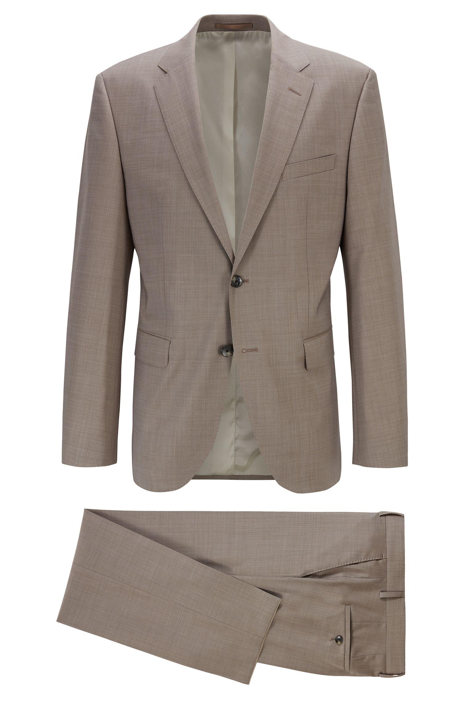 Dezent gemusterter Regular-Fit Anzug aus Schurwolle, Hellbeige