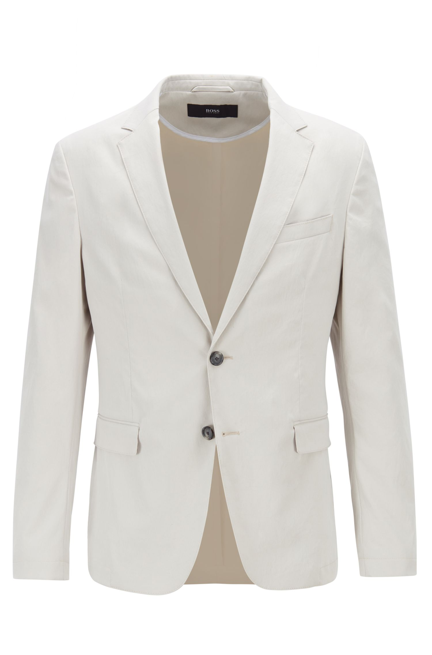 Slim-fit jacket in washable technical fabric, Natural