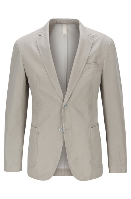 Slim-fit jacket in melange cotton, Natural