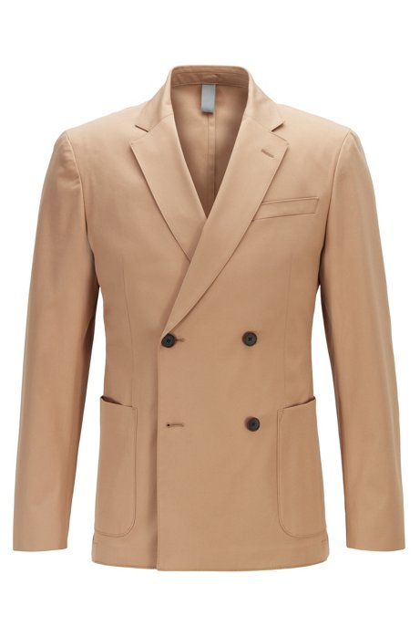 Double-breasted slim-fit jacket in stretch-cotton gabardine, Beige