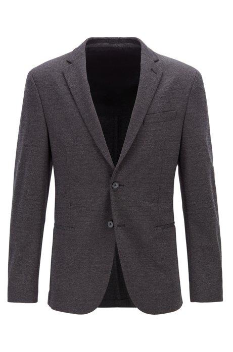 Slim-fit jacket in melange jersey with partial lining, Dark Grey
