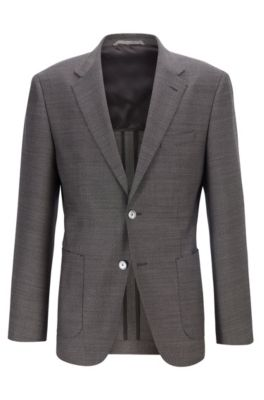 Regular-fit jacket in micro-patterned virgin wool, Open Grey