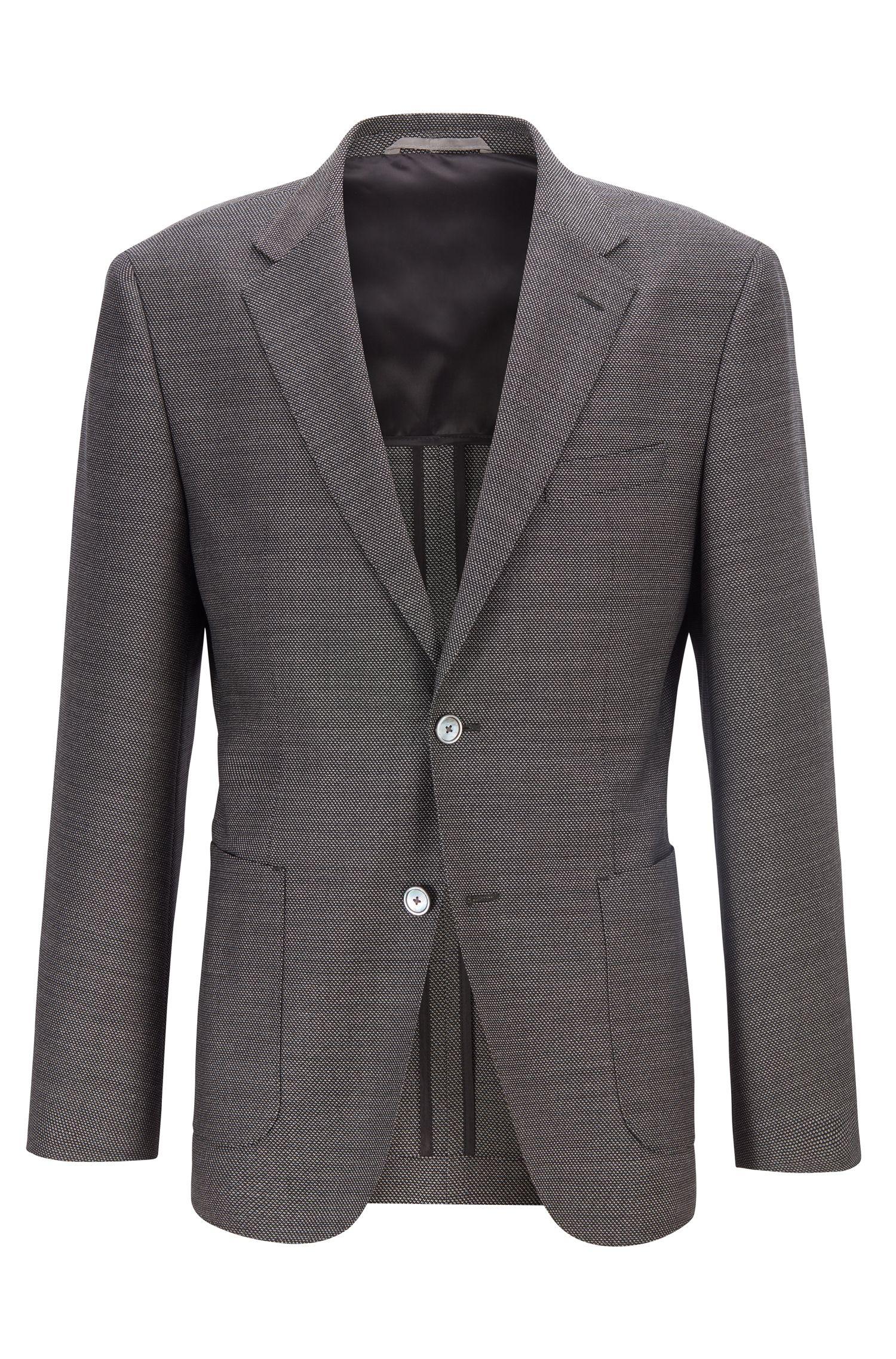 Veste Regular Fit en laine vierge à micromotif, Gris chiné