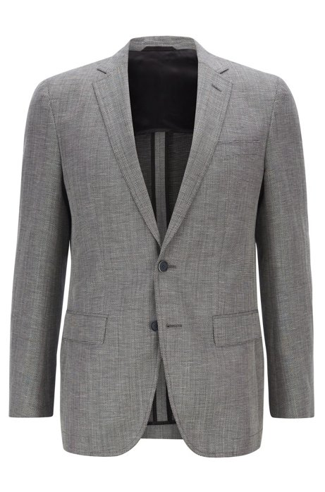 Slim-fit jacket in virgin wool and linen with elbow patches, Grey