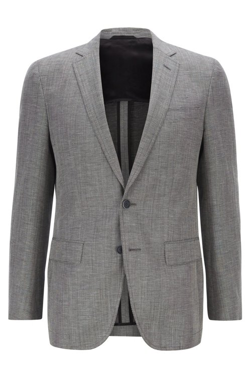 Hugo Boss - Slim-fit jacket in blended fabric with elbow patches - 1
