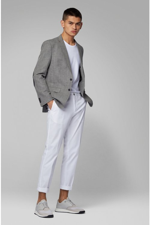 Hugo Boss - Slim-fit jacket in blended fabric with elbow patches - 2