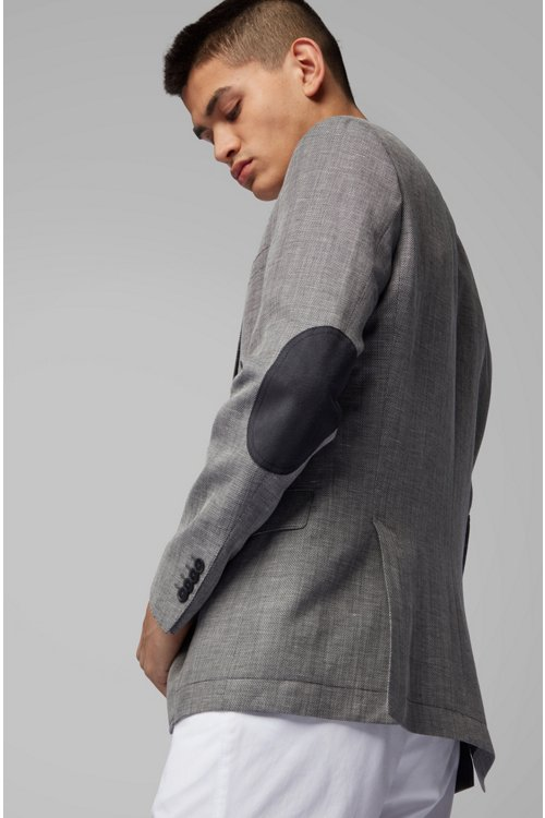 Hugo Boss - Slim-fit jacket in blended fabric with elbow patches - 7
