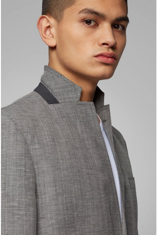 Hugo Boss - Slim-fit jacket in blended fabric with elbow patches - 5