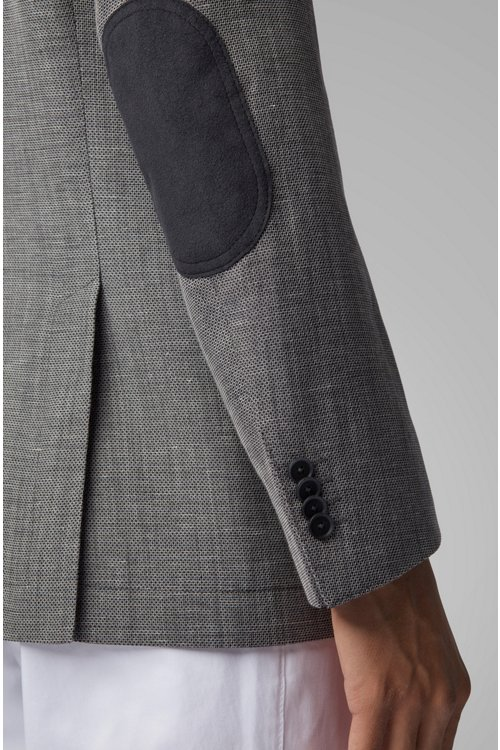 Hugo Boss - Slim-fit jacket in blended fabric with elbow patches - 6