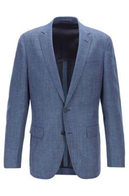 Veste Slim Fit en tissu mélangé à coudières, Bleu foncé