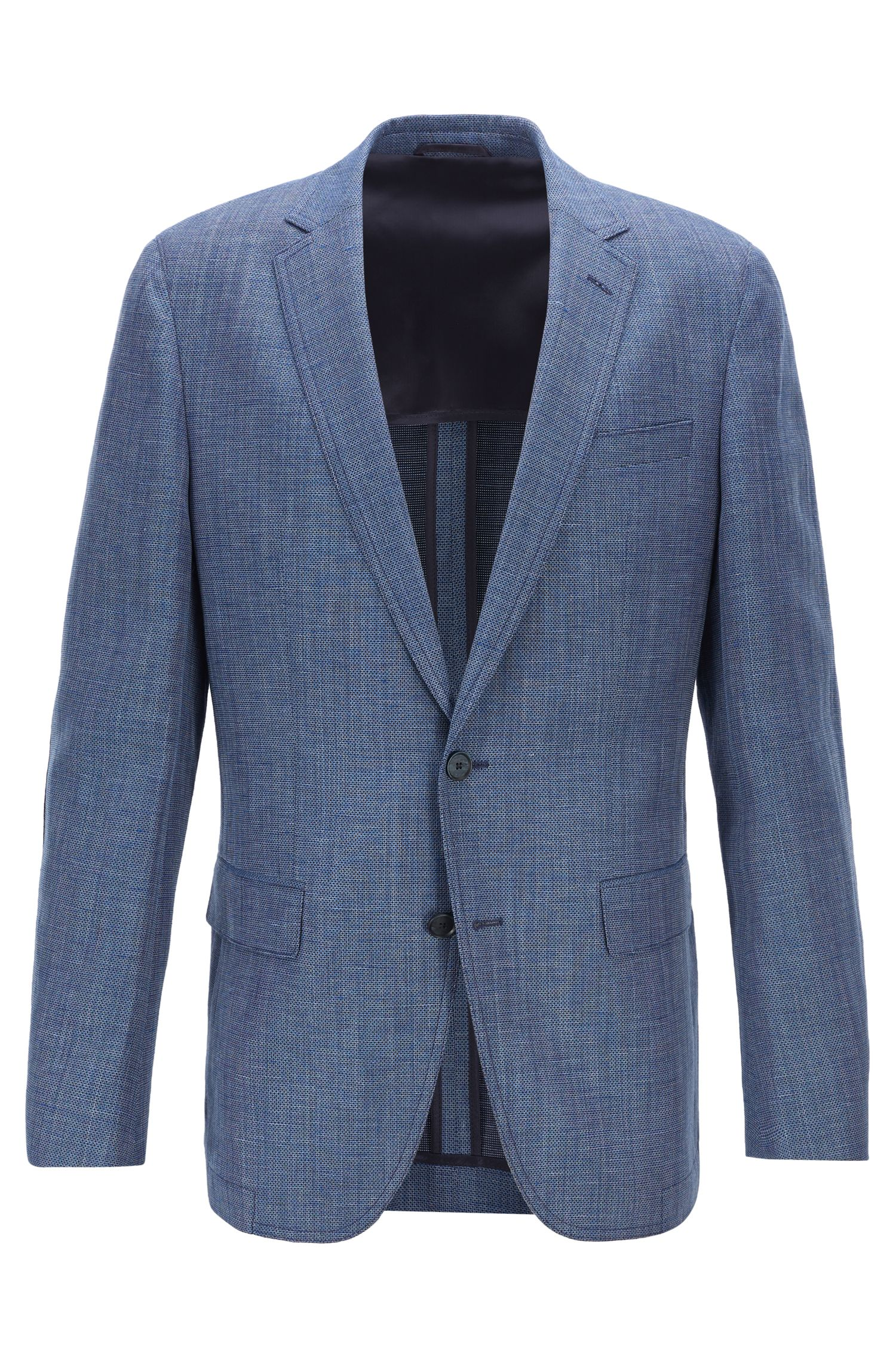 Slim-fit jacket in blended fabric with elbow patches, Dark Blue