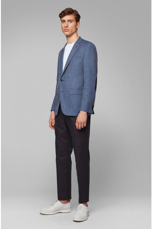 Hugo Boss - Slim-fit jacket in blended fabric with elbow patches - 4