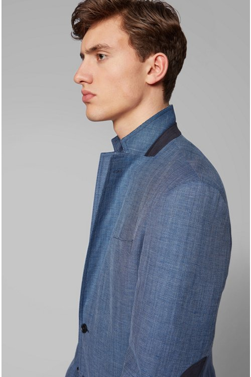 Hugo Boss - Slim-fit jacket in blended fabric with elbow patches - 3