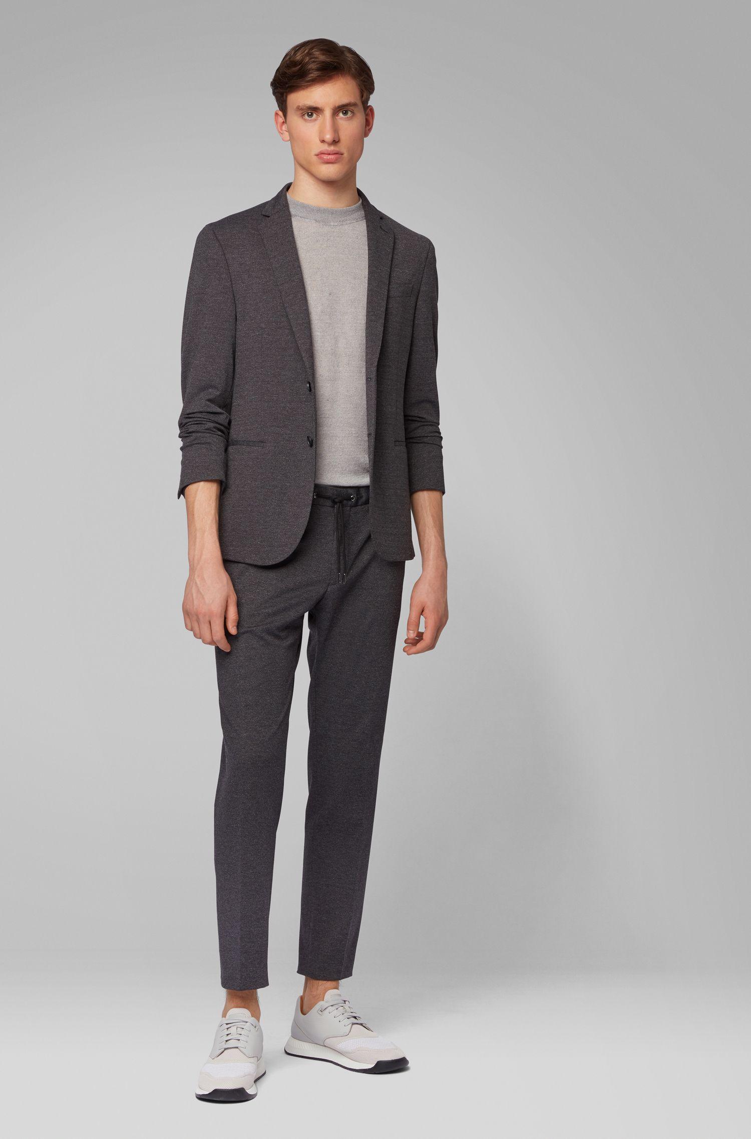 Pantalones slim fit de estilo tobillero con cordón en la cintura, Gris oscuro
