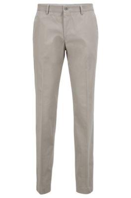 Melierte Slim-Fit Hose aus softer Baumwolle, Natur
