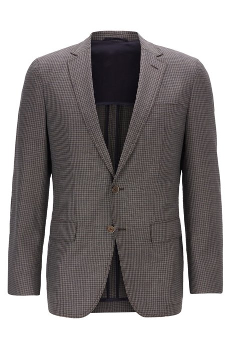 Slim-fit blazer in checked wool with elbow patches, Beige