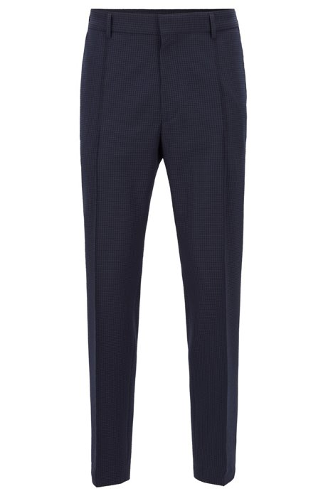 Cropped relaxed-fit trousers in washable checked seersucker, Dark Blue