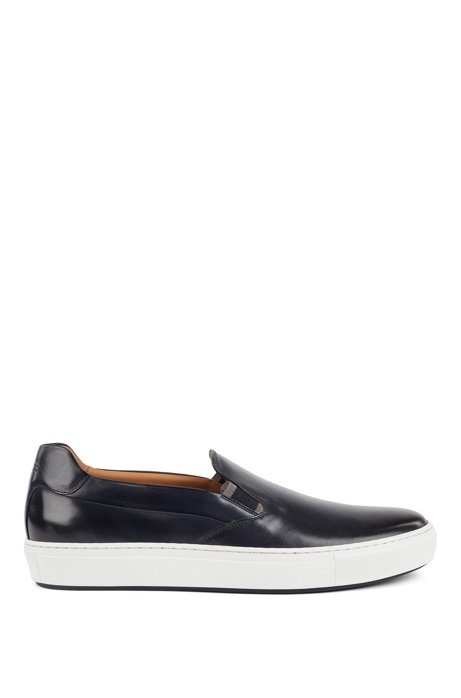 Italian-made slip-on trainers in burnished leather, Dark Blue