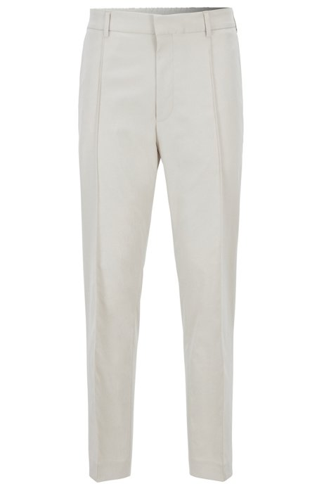 Cropped relaxed-fit washable trousers with a slim leg, Natural