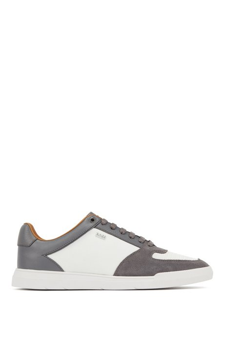 Low-top trainers in hybrid materials, Open Grey