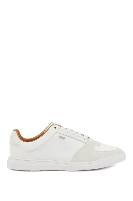 Low-top trainers in hybrid materials, White