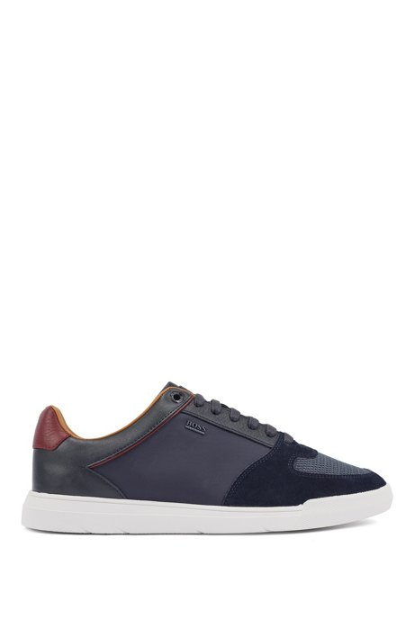 Low-top trainers in hybrid materials, Dark Blue
